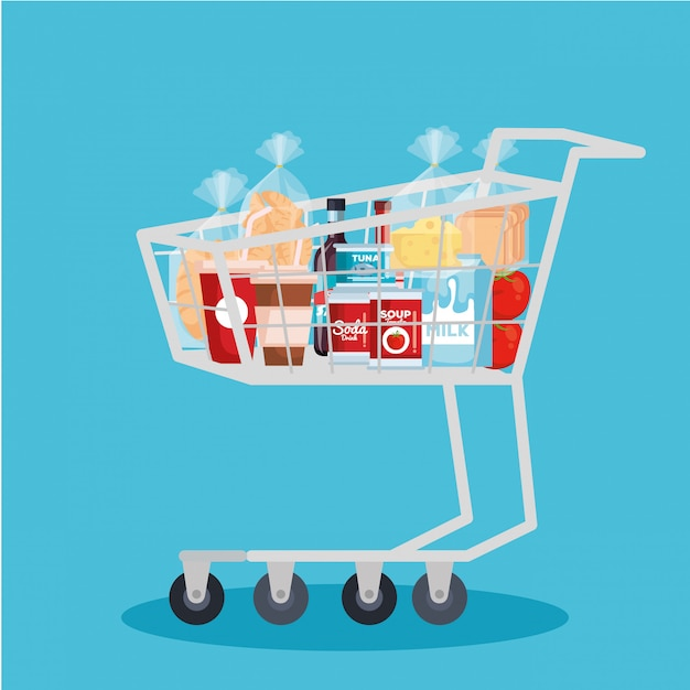Shopping cart with products Free Vector