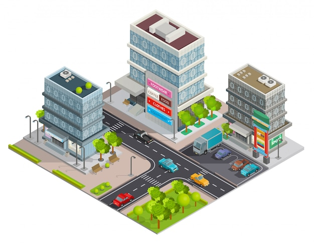 Shopping center buildings complex Free Vector