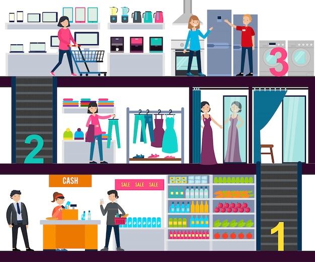 ショッピングセンターインフォグラフィックテンプレート 無料ベクター