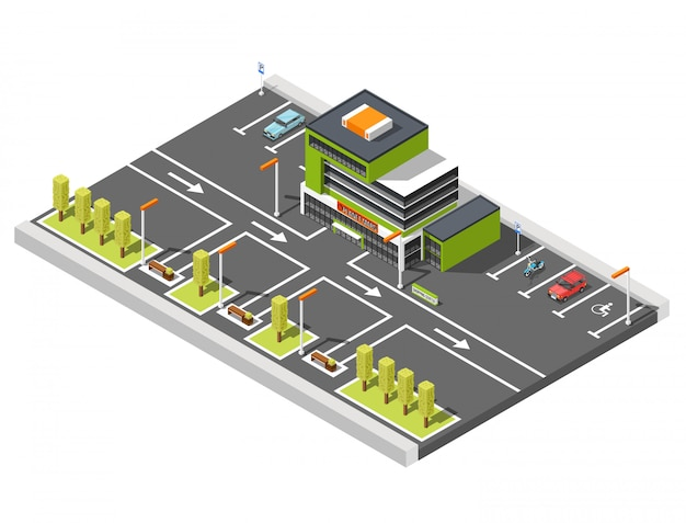 Shopping center parking composition Free Vector