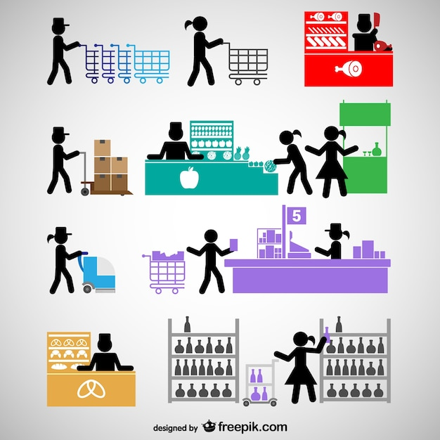 Shopping center people icons Free Vector
