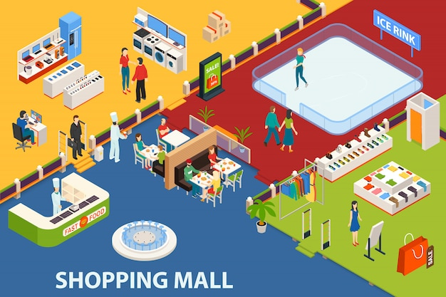 Shopping center set object Free Vector