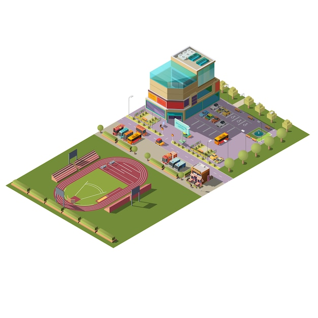 Shopping center and stadium isometric vector Free Vector