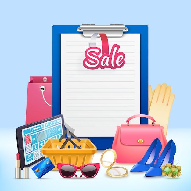 Shopping clip board composition Free Vector