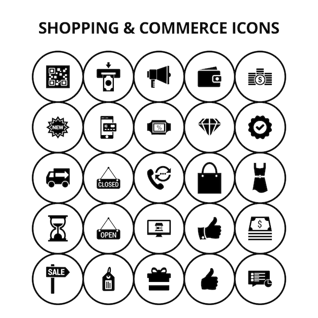 Shopping and commerce icons Free Vector