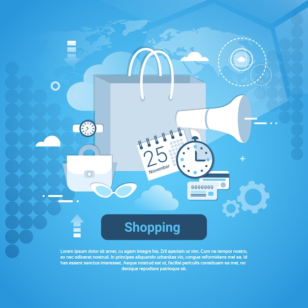Shopping commerce web banner with copy space Premium Vector