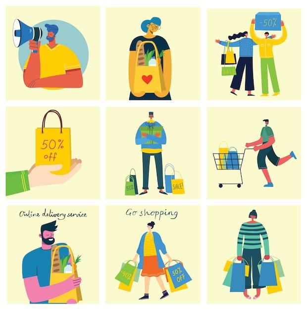 Концепция покупок с разными людьми в плоском дизайне Premium векторы