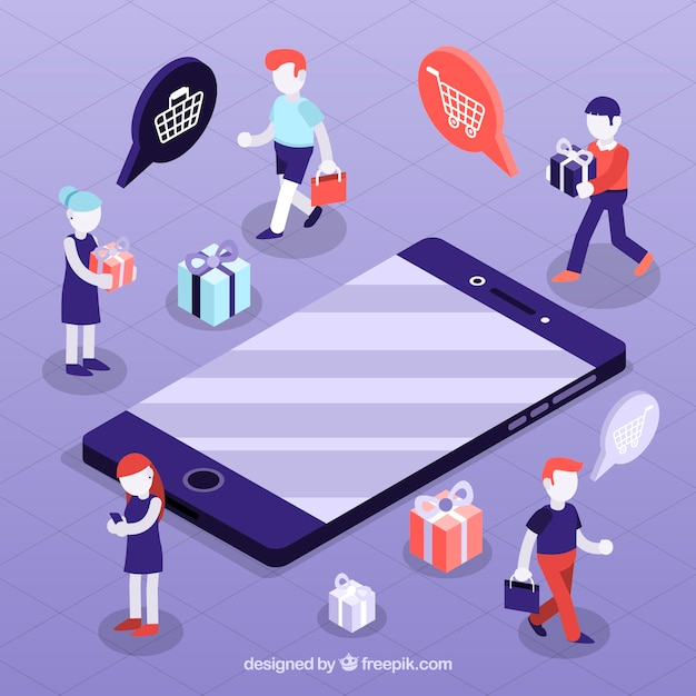 Shopping concept with people in isometric view Free Vector