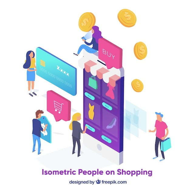 Shopping concept with people in isometric\ view