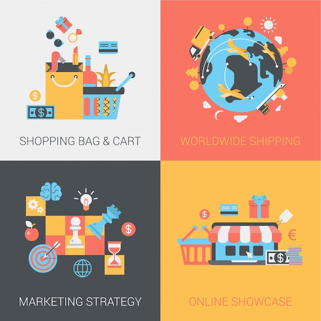Shopping, delivery, marketing strategy and online store icons set. Free Vector