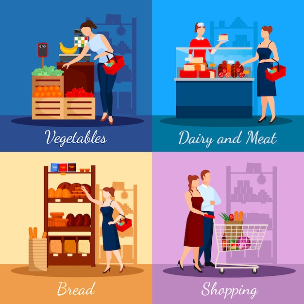 Shopping departments in supermarket Free Vector