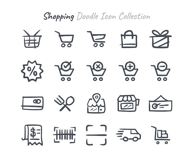 Shopping doodle icon collection Premium Vector