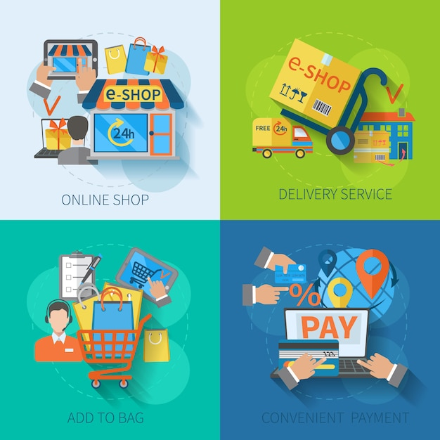 Shopping e-commerce concept design set Free Vector