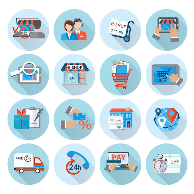 Shopping e-commerce icon flat Free Vector