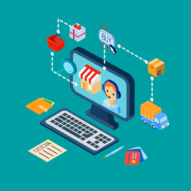 Shopping e-commerce icons set isometric Free Vector