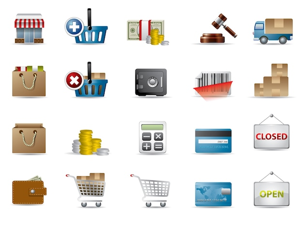 Shopping and e-commerce icons Premium Vector