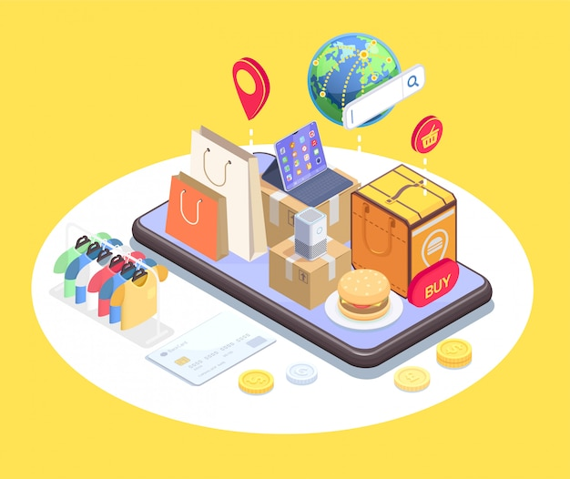 Shopping e-commerce isometric composition with conceptual image of phone and items on top of touchscreen vector illustration Free Vector