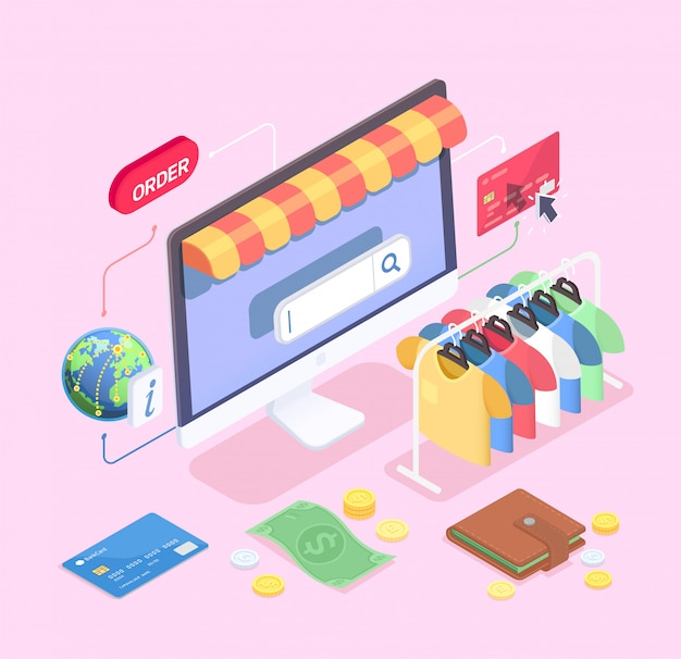 Shopping e-commerce isometric concept with composition of desktop computer clothes rail cash and credit cards vector illustration Free Vector