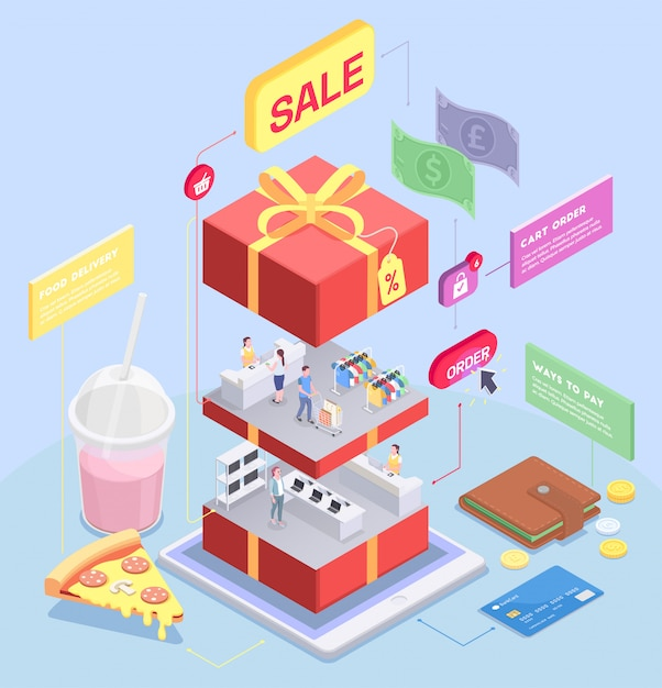 Shopping e-commerce isometric concept with image of sliced gift box with human characters and goods vector illustration Free Vector