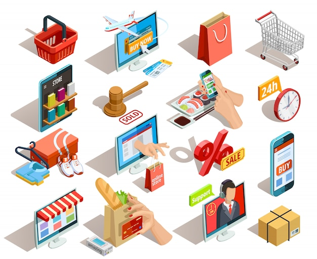 Shopping e-commerce isometric icons set Free Vector