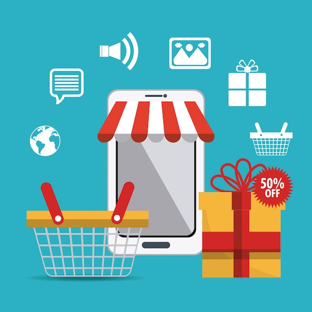 Shopping, ecommerce and marketing Free Vector