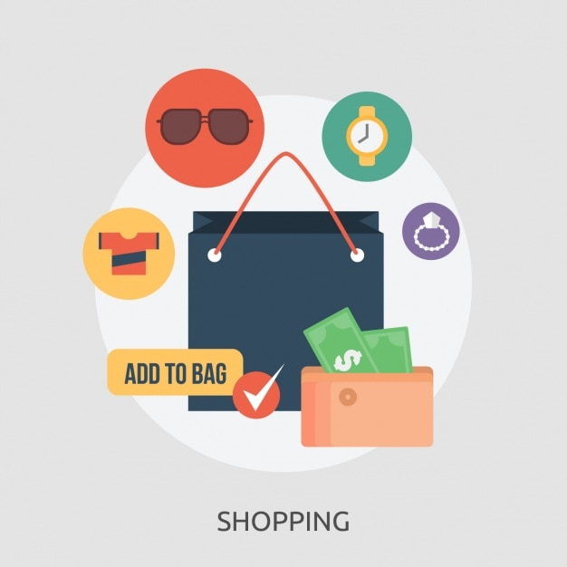 Shopping elements collection Free Vector
