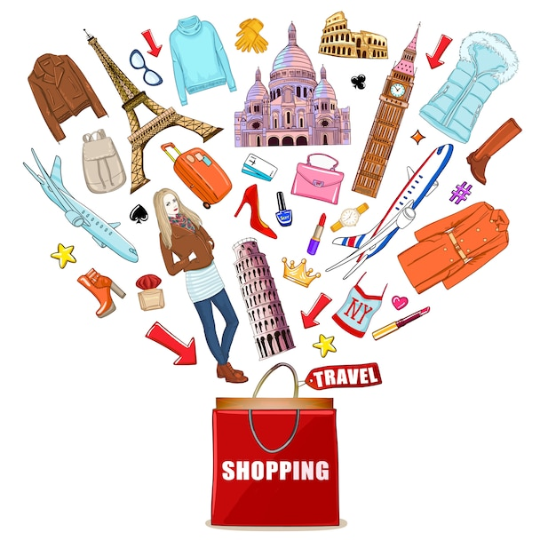 Shopping europe travel composition Free Vector