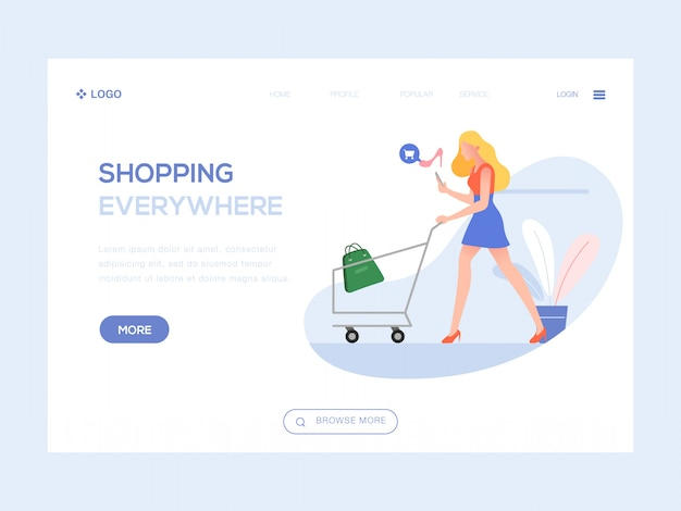 Shopping everywhere web illustration Premium Vector