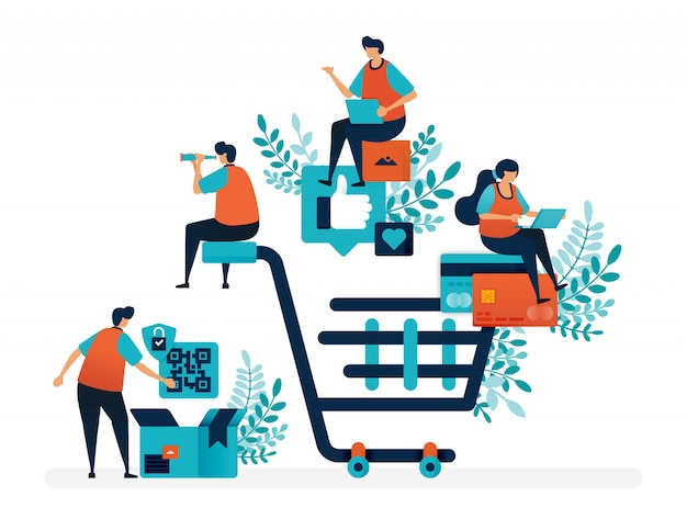 Shopping experience of finding products, making payments and delivery services. big shopping cart. Premium Vector