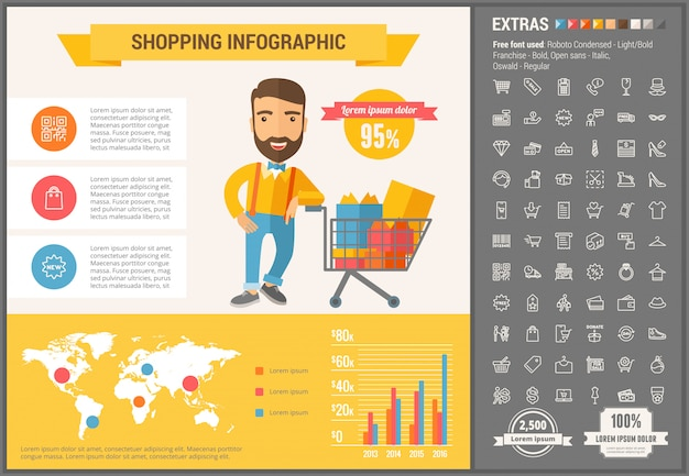 Shopping flat design infographic template and icons set Premium Vector