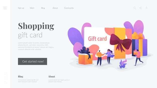 ショッピングギフトカードのランディングページテンプレート 無料ベクター