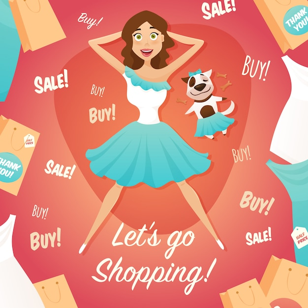 Shopping girl sale advertisement flat poster Free Vector