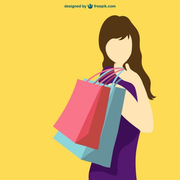 6aa9df44d Shopping girl silhouette Vector | Free Download