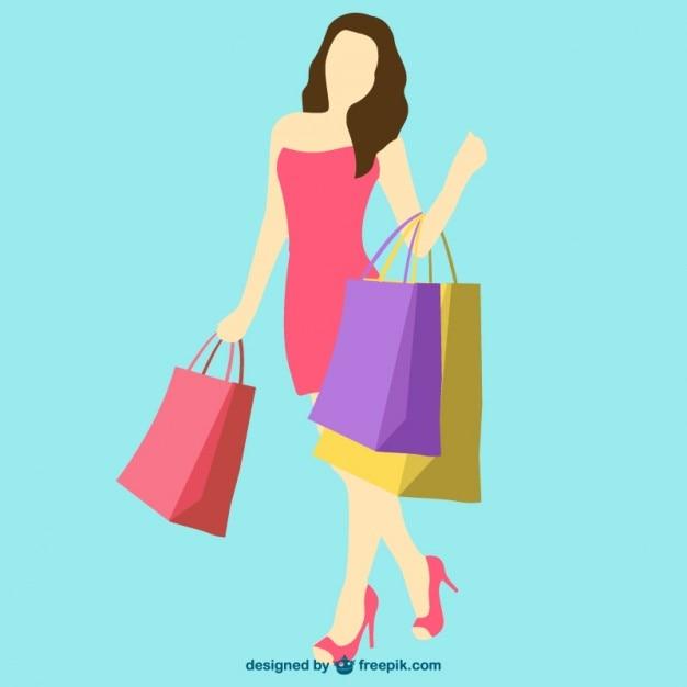 Shopping girl vector Vector | Free Download