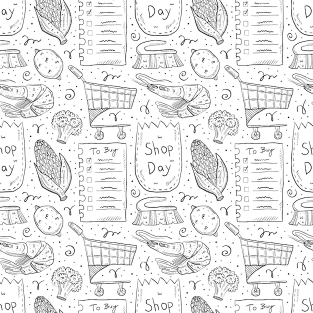 Shopping hand drawn doodle  seamless pattern. isolated on white background. check list, corn,  eco pack, paper bag, trolley, broccoli, lemon, brush, shrimp. Premium Vector
