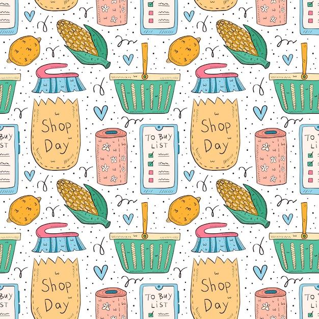 Shopping hand drawn doodle  seamless pattern. isolated on white background. check list, corn, pack, bag, basket, toilet paper, lemon, brush, smartphone app. Premium Vector