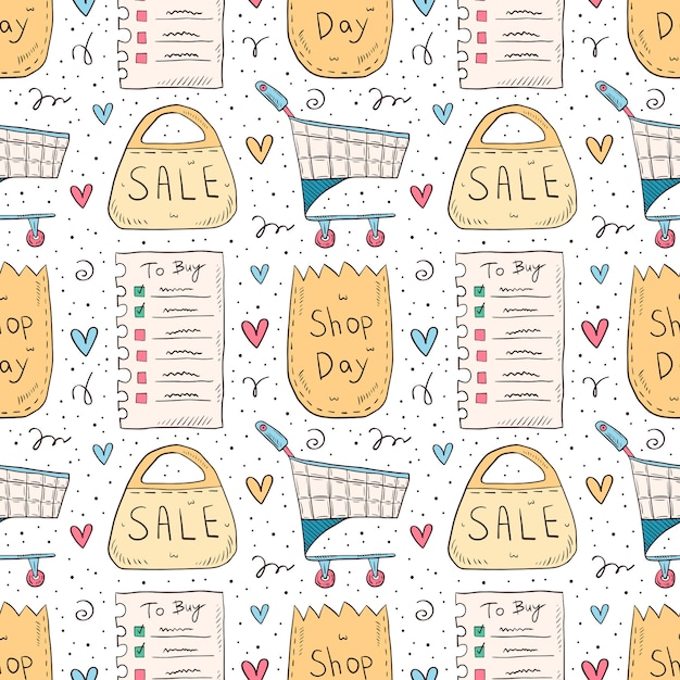 Shopping hand drawn doodle seamless pattern. isolated on white background. check list, eco pack, paper bag, trolley, sale. Premium Vector