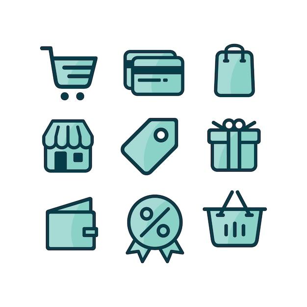 Коллекция иконок покупки Бесплатные векторы