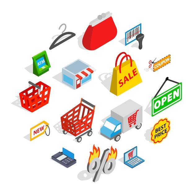 Shopping icons set, isometric 3d style Premium Vector