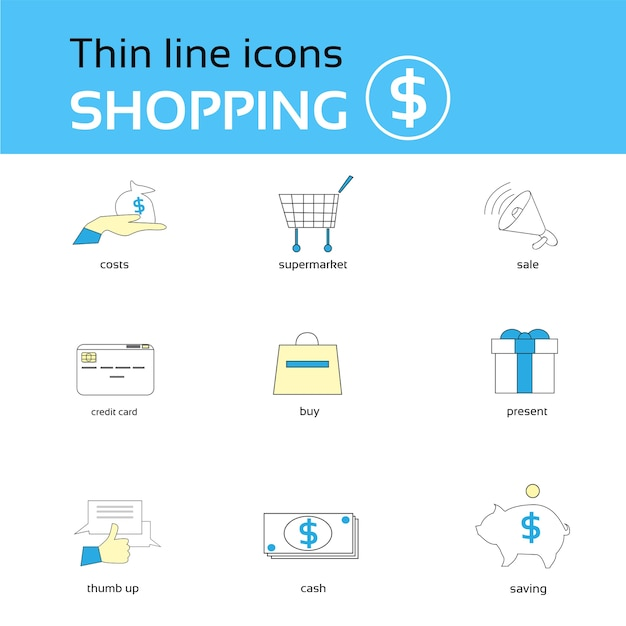 Shopping icons thin line set collection Premium Vector
