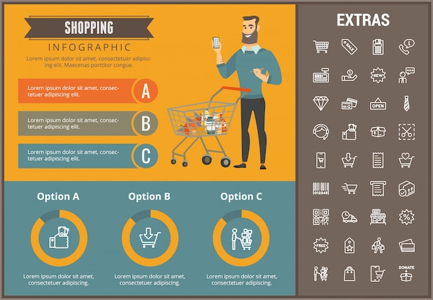 Shopping infographic template, elements and icons Premium Vector