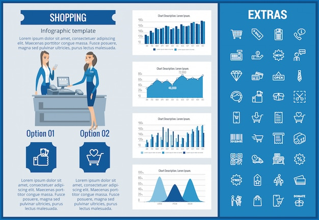 Shopping infographic template, elements and icons. Premium Vector