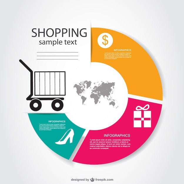 Shopping infographic with a cart silhouette Free Vector
