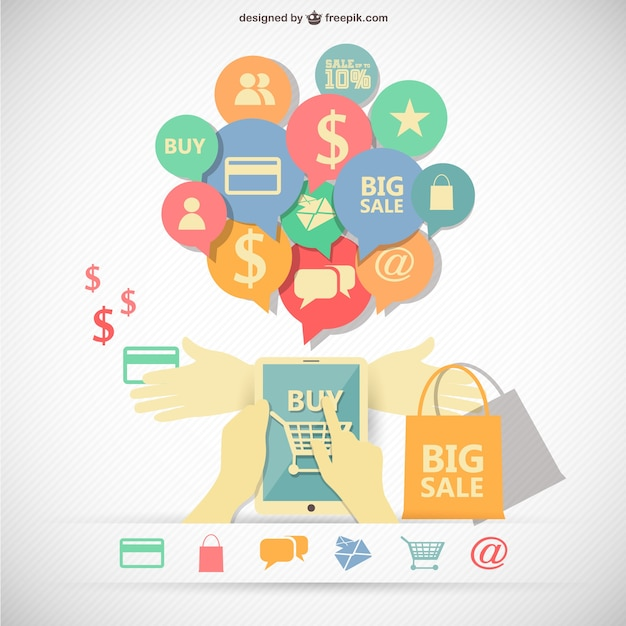Shopping infographic with bags and icons Free Vector