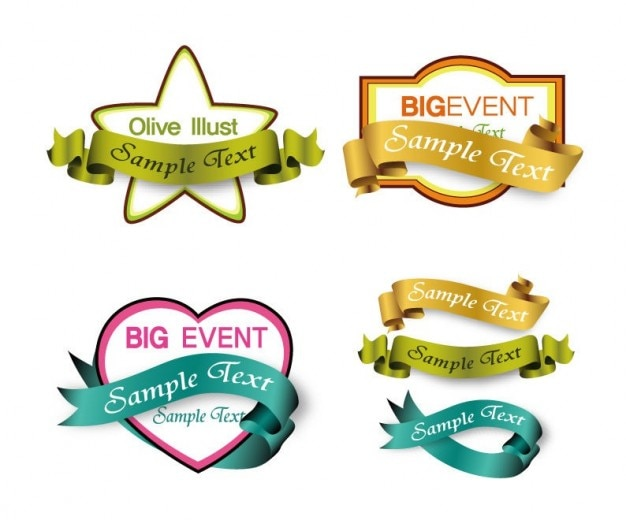 shopping labels with ribbons vector graphic Free Vector
