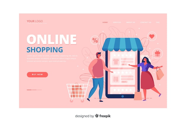 Shopping landing page flat style Free Vector