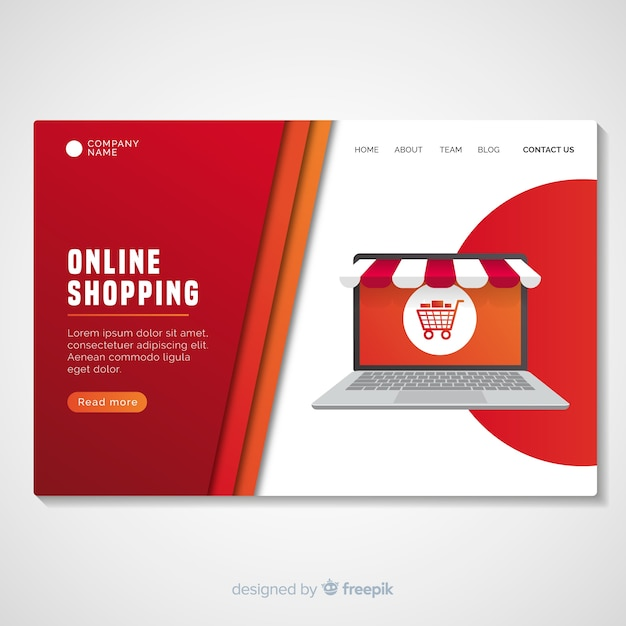 Shopping landing page template Free Vector