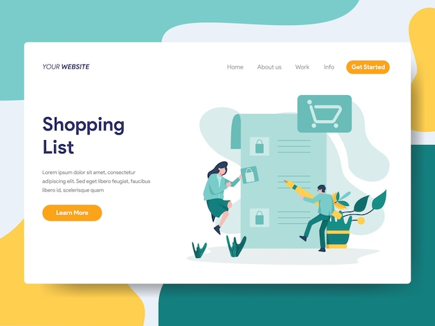 Shopping list for website page Premium Vector