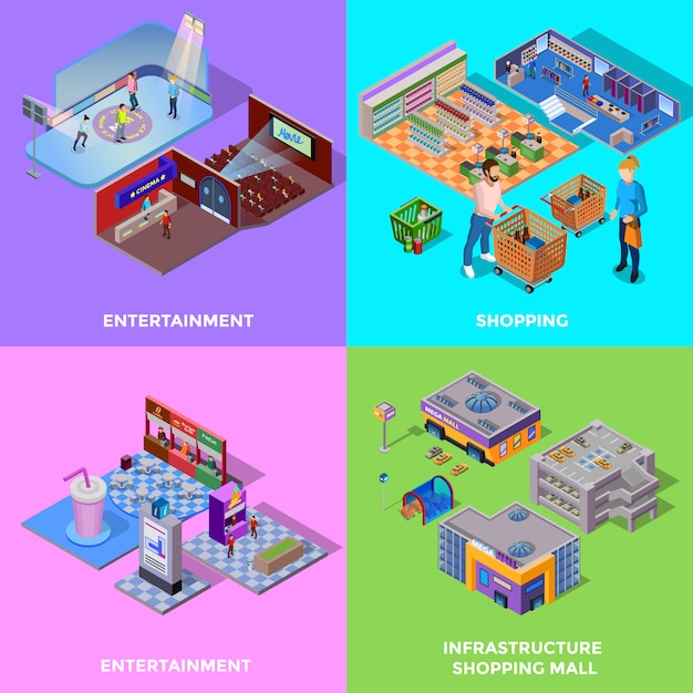 Shopping mall 2x2 icons set Free Vector
