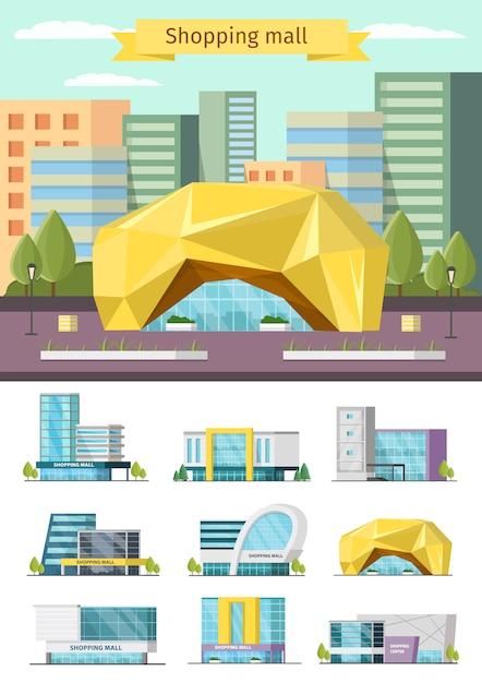 Insieme della costruzione del centro commerciale Vettore gratuito